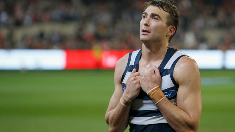 Corey Enright was in tears as he left the field in what proved to be his last AFL game.