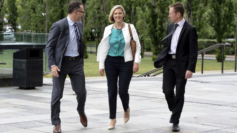 Greens Senator Richard DiNatale, Senate candidate Christina Hobbs and ACT Greens MLA Shane Rattenbury.