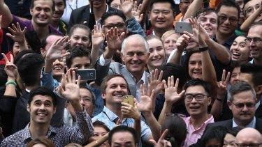 Malcolm Turnbull visits the Australian International School in Hong Kong.