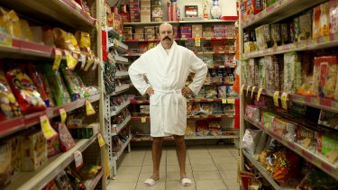 Sam Simmons poses for a photo in the Great Eastern Groceries Centre. His show at this year's Melbourne International Comedy Festival is <i>Spaghetti For Breakfast</i>.