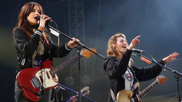 Theresa Wayman, left, and Emily Kokal of rock band Warpaint were less than impressed with Melbourne's weather.