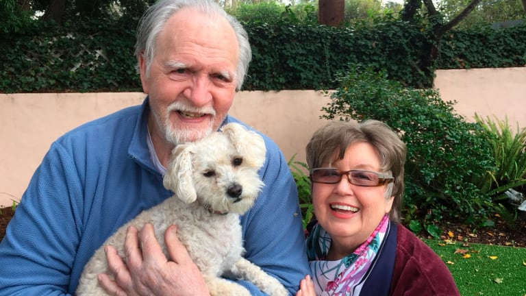 Jim Mitchell, 89, with his wife, Alice Mitchell, 78, and their dog, Gigi.