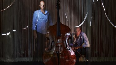 Doubled and bass: Maxime Bibeau with his mysterious instrument, which his partner has dubbed 'Sofia'.