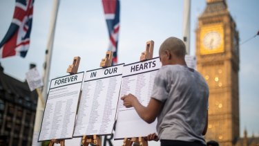 A list of the residents are placed on easels during a vigil for the victims of the Grenfell Fire.