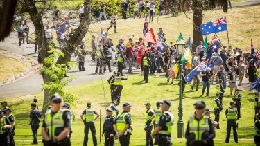 There was a hefty police presence as protesters filed into the park.