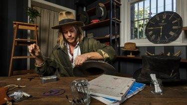 Nick Fouquet in his temporary studio at Pentridge Prison in Coburg.