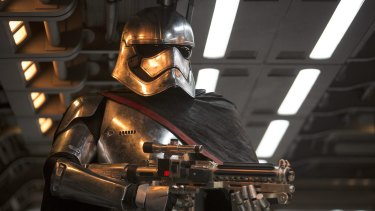 Captain Phasma (Gwendoline Christie) in <i>Star Wars: The Force Awakens</i>.