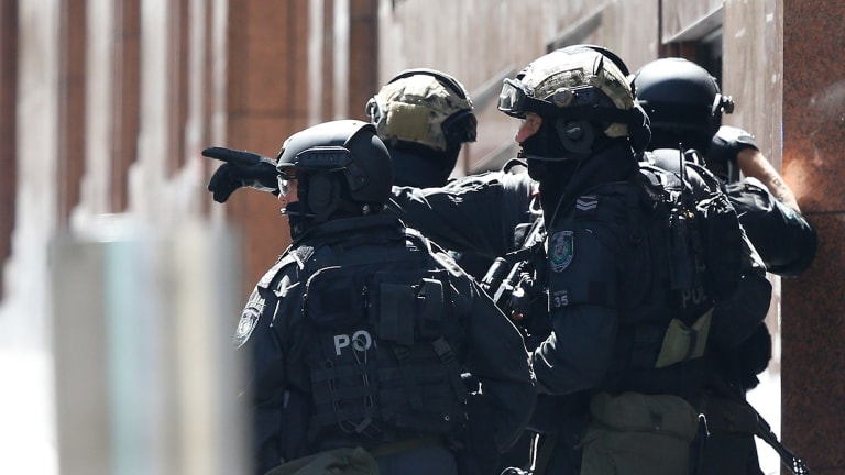 Heavily armed police in Martin Place.