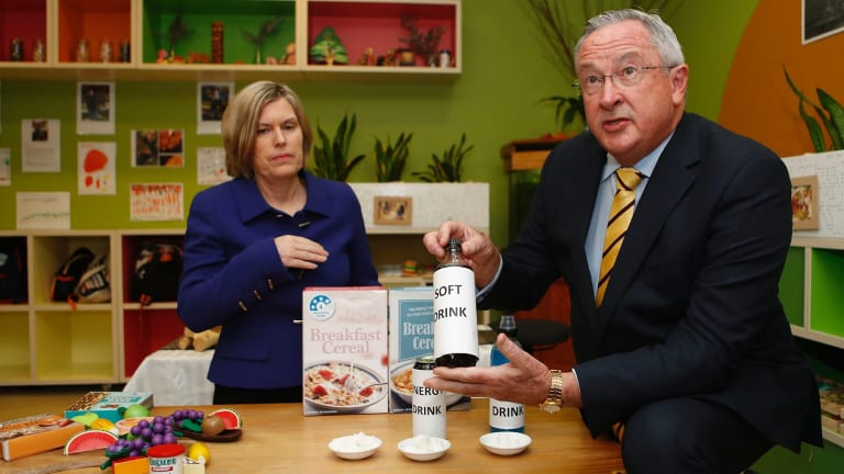 NSW Chief Health Officer Dr Kerry Chant and Health Minister Brad Hazzard at the launch of the 'What NSW Children Eat and Drink' report.
