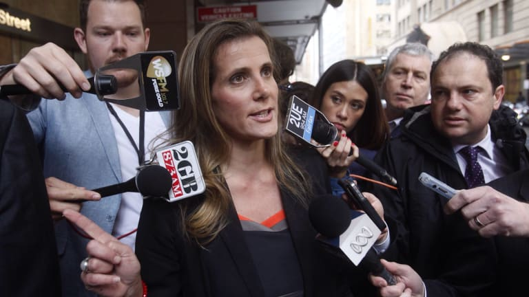 Health Services Union whistleblower Kathy Jackson departs after giving evidence at the Royal Commission into Trade Union Governance and Corruption on Friday.