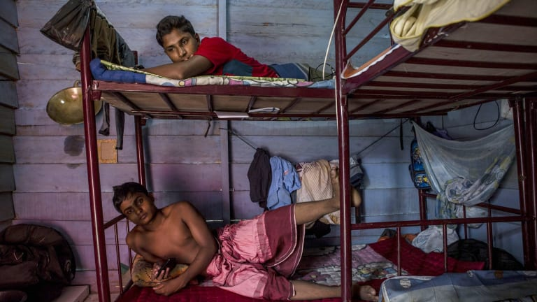 Rohingya refugees inside a temporary shelter in Aceh, Indonesia, in October.