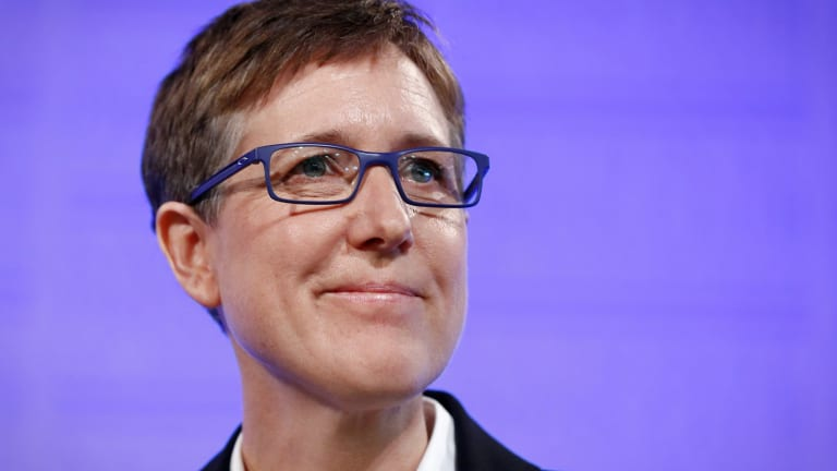 Sally McManus, Secretary of the Australian Council of Trade Unions, at the National Press Club.