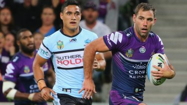 Cameron Smith of the Storm makes his way to the line to score a rare try.