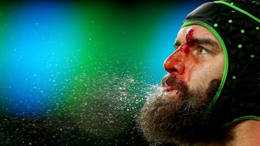 A portrait of a rugby player: A bloodied Scott Fardy during the 2015 Rugby World Cup semi-final between Argentina and Australia at Twickenham.