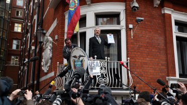 Assange speaks from the balcony of the Ecuadorian embassy in London.