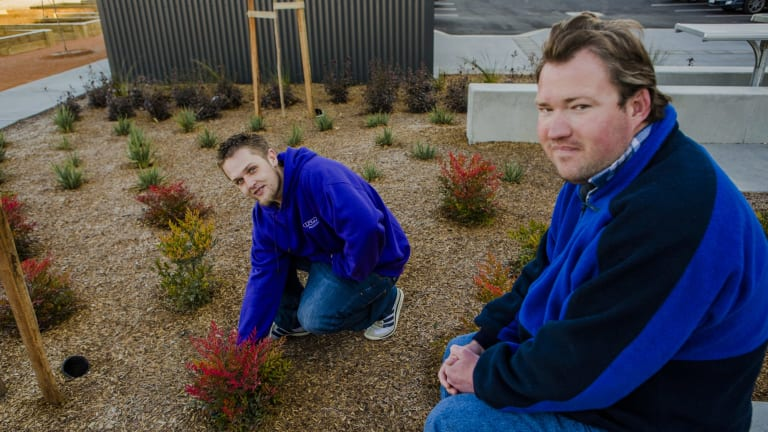 Josh Rourke with fellow Common Ground tenant Grant Wilson at the official opening on Friday.