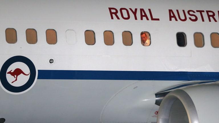 Prime Minister Tony Abbott inside one of the RAAF jets.