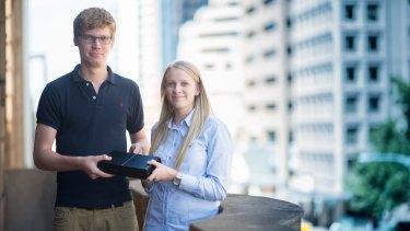 Jemsoft managing director Jordan Green and co-founder Emily Rich with the portcullis device.