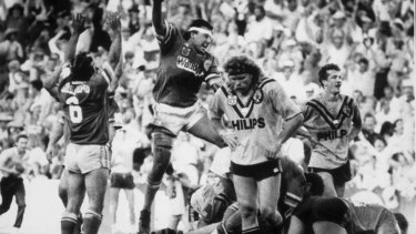 Hail Mary play: The Raiders celebrate the try by John Ferguson that sent the 1989 grand final into extra time.