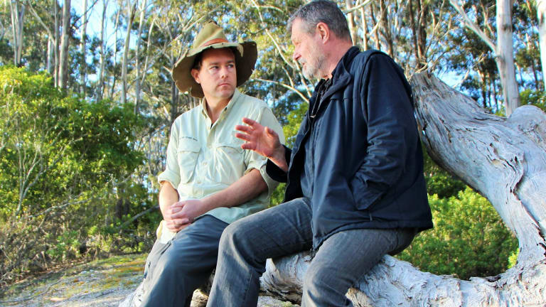 John Blay shares tales of the Bundian Way with Tim near Twofold Bay.