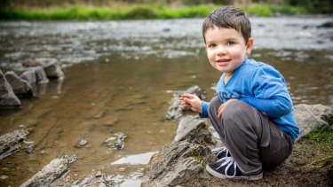 Alexander Glenister, 2, enjoys the clean water at Warrandyte Bridge.