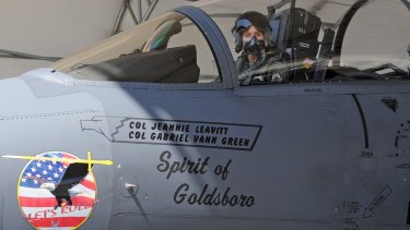 Pioneering pilot Colonel Jeannie Leavitt in her F-15E Strike Eagle at Seymour Johnson Air Force Base, North Carolina.