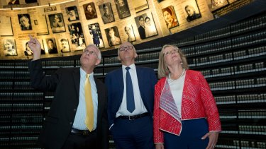 Malcolm Turnbull, pictured at the Yad Vashem Holocaust Museum in Jerusalem, said Australia supported a two-state solution but would not be drawing the line for a boundary.