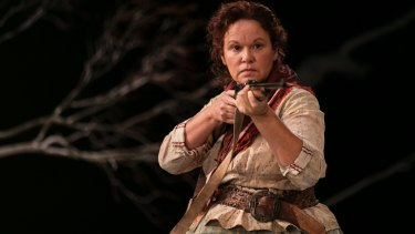 Leah Purcell as the heavily pregnant Molly in <i>The Drover's Wife</i>.