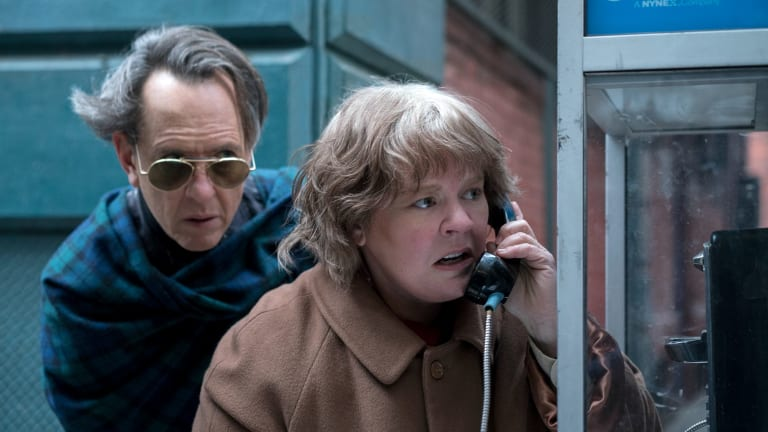 Richard E. Grant as Jack Hock and Melissa McCarthy as Lee Israel in <i>Can You Ever Forgive Me?</I>