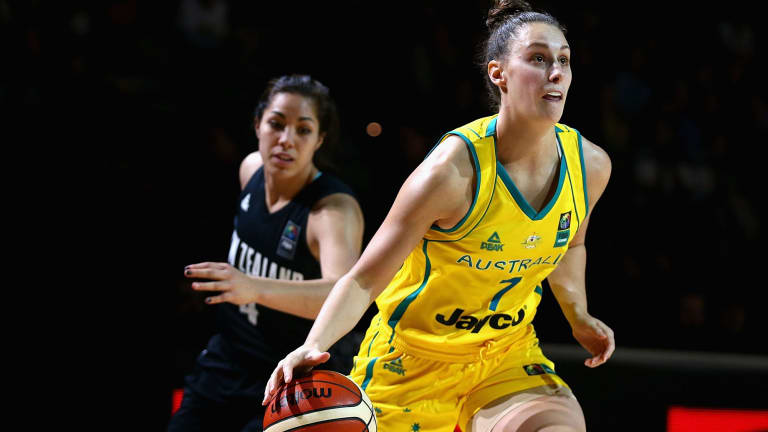 Stephanie Talbot of the Opals drives to the basket during a match against New Zealand in August.