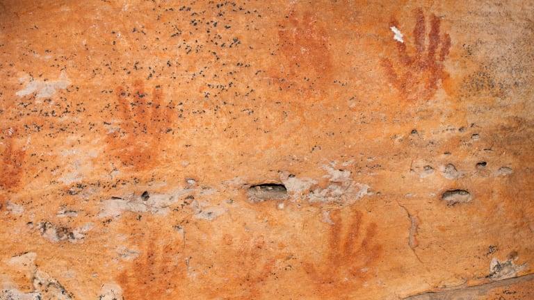Ancient rock at atGulgurn Manja, where the Jardwadjali people once hunted eels, turtle, mussels, birds and marsupials.