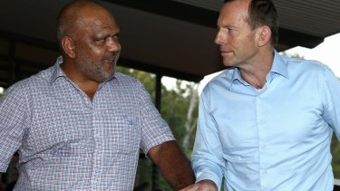 Tony Abbott meets with Noel Pearson during his visit to North-East Arnhem Land in 2014.