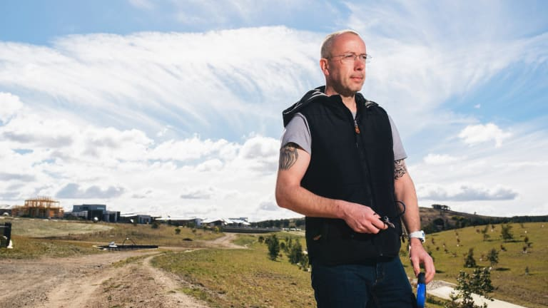 Steven Birchall at the site of the dog attack, where his poodle was mauled by two pit bulls.