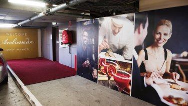 The Ambassador's red carpet entrance into the gaming room.