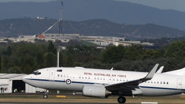 One of the RAAF's special purpose aircraft departs RAAF Fairbairn in Canberra.
