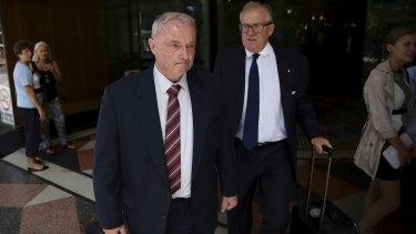 John Dennis Maguire, left, former dorm master at St Joseph's College, Hunters Hill, leaving court.