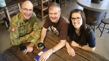 Program co-ordinator Brigadier Wayne Goodman and participants Royal Australian Navy Lieutenant Commander Damon Craig and Australian Army Staff Cadet Kelly Barnes.