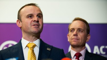 Chief Minister Andrew Barr, left, announced the family violence package on Tuesday to overwhelming support.