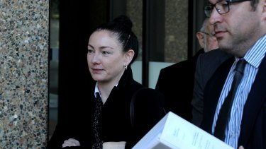 Jayne Gersbach, with her solicitor Paul Blake, outside the NSW Supreme Court on Monday.