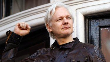 WikiLeaks' Julian Assange on the balcony of the Ecuadorian Embassy in London.