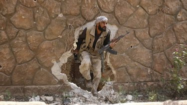 A Jaysh al-Islam (Army of Islam) rebel fighter in Damascus on Sunday.