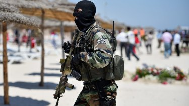 Tunisian armed forces patrol Marhaba beach in Sousse after the June 2015 attack.