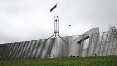 The new security fence at Parliament House.