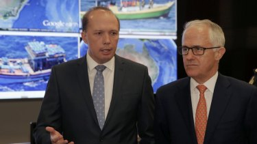Immigration Minister Peter Dutton and Prime Minister Malcolm Turnbull announce the refugee deal on Sunday.