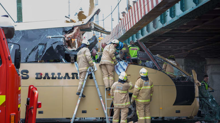 The bus slammed into the Montague Street bridge on February 22 last year, sending 11 people, plus the driver, to hospital.
