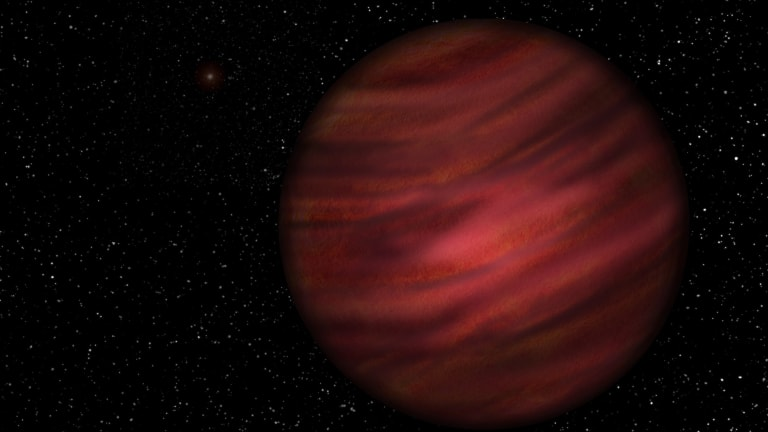 An artist's impression of the gas giant planet 2MASS J2126-8140 in orbit around its host star, faintly discernible in the background.
