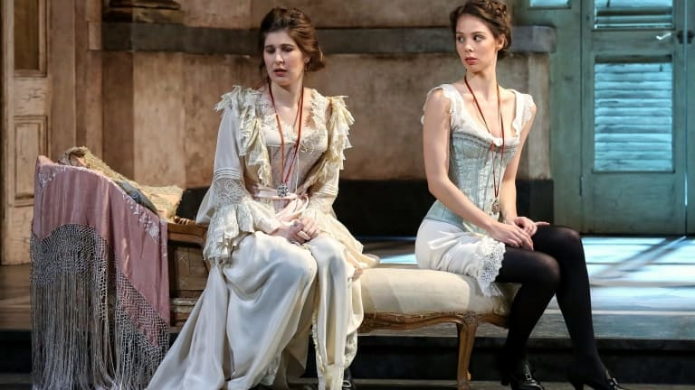 Nicole Car (left) as Fiordiligi and Anna Dowsley as Dorabella in Opera Australia's <i>Cosi Fan Tutte</i>.