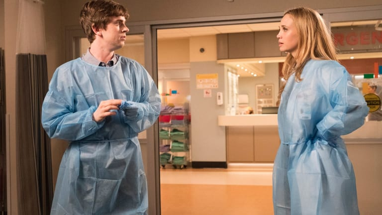 Dr Shaun Murphy (Freddie Highmore) and Dr Morgan Reznick (Fiona Gubelmann) in The Good Doctor.