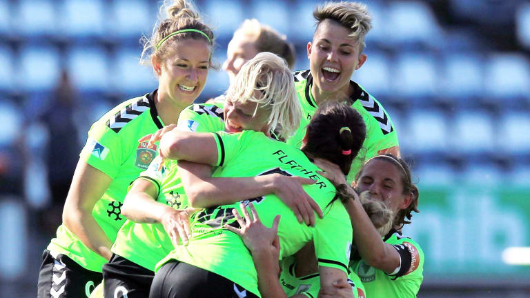 Canberra United celebrate victory in the W-League Semi Final match between Melbourne Victory and Canberra United at Simonds Stadium.