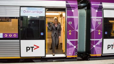 Public Transport Minister Jacinta Allan is seen inspecting the first of more than 100 new trains ordered by the Labor government.